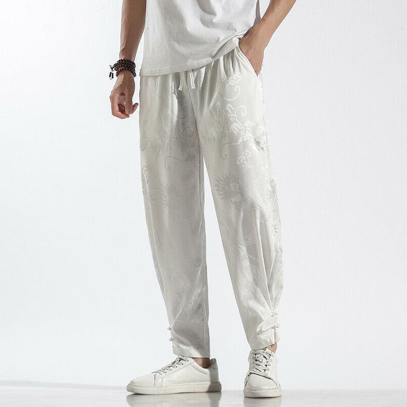 men pants harem trousers dragon tai chi