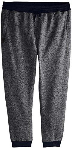 Southpole Men's Basic Fleece Marled Jogger Pant, Marled Navy