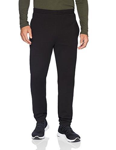 men s closed bottom fleece pant black