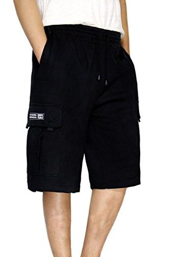 men s fleece cargo shorts heavyweight black