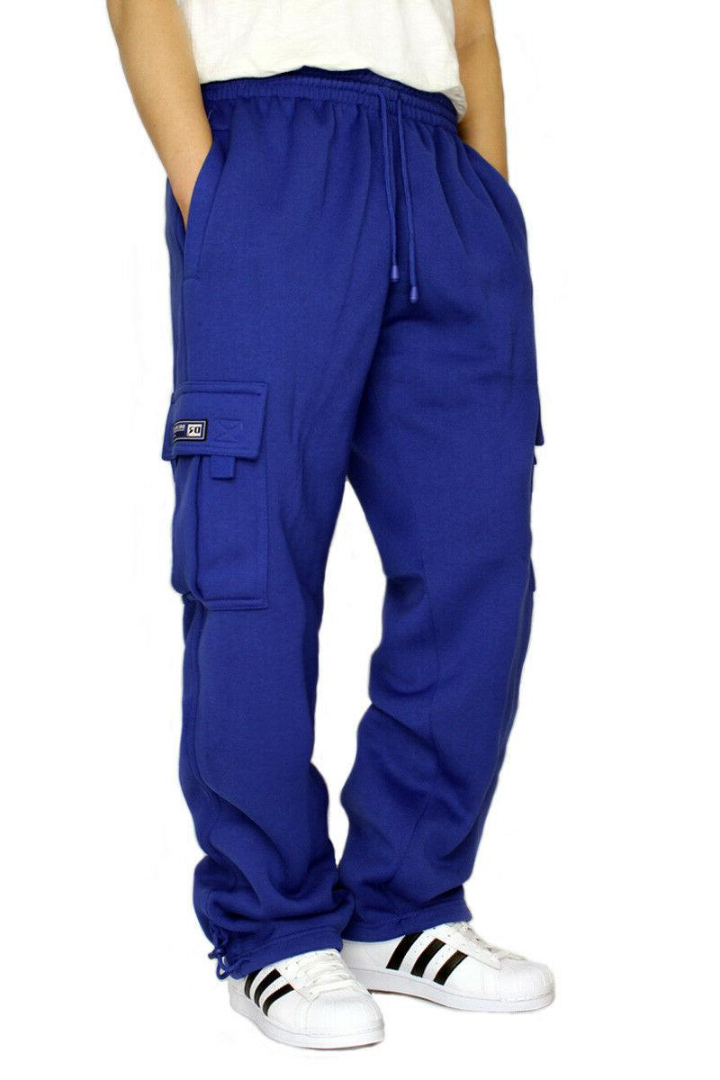 men s fleece cargo heavyweight sweatpants
