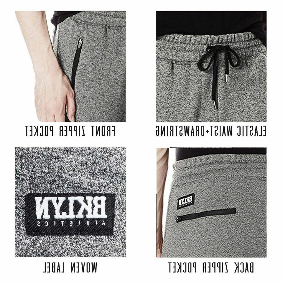 Brooklyn Athletics Fleece Jogger Pants Active Zipper Pocket Sweatpants