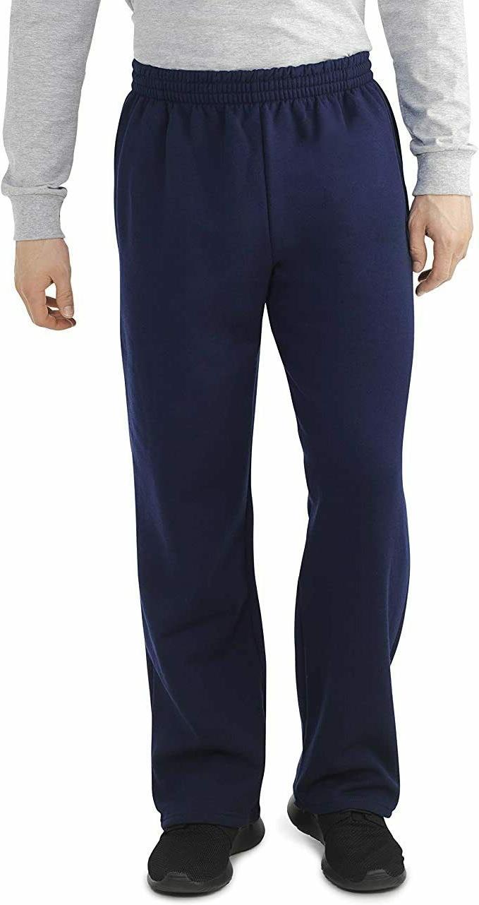 men s fleece open bottom sweatpants navy