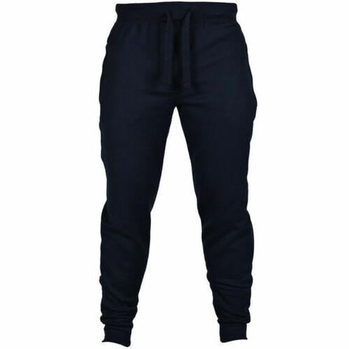 Mens Fit Tracksuit Sport Gym Skinny Joggers Sweat Trousers US