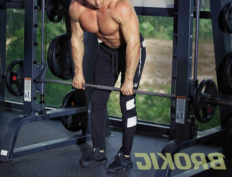 BROKIG Men's Gym Jogger Pants Slim Workout Sweatpants Zi
