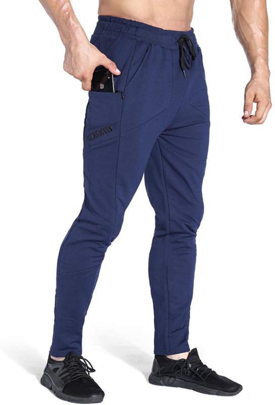 Brokig Men'S Zip Jogger Tapered Bottoms Gym Pants Slim Fit W