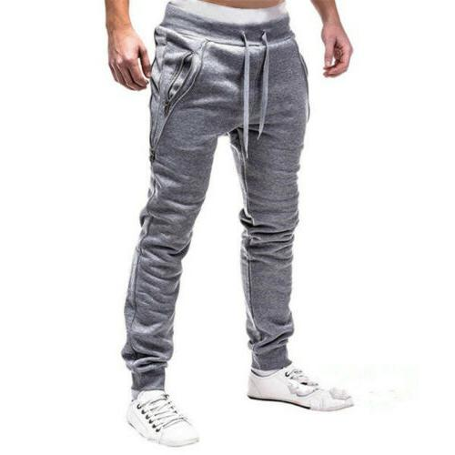 Men Long Pants Fit Running Joggers Gym New