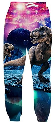 Uideazone Men Women Digital Print Dinosaur Joggers Pants Coo