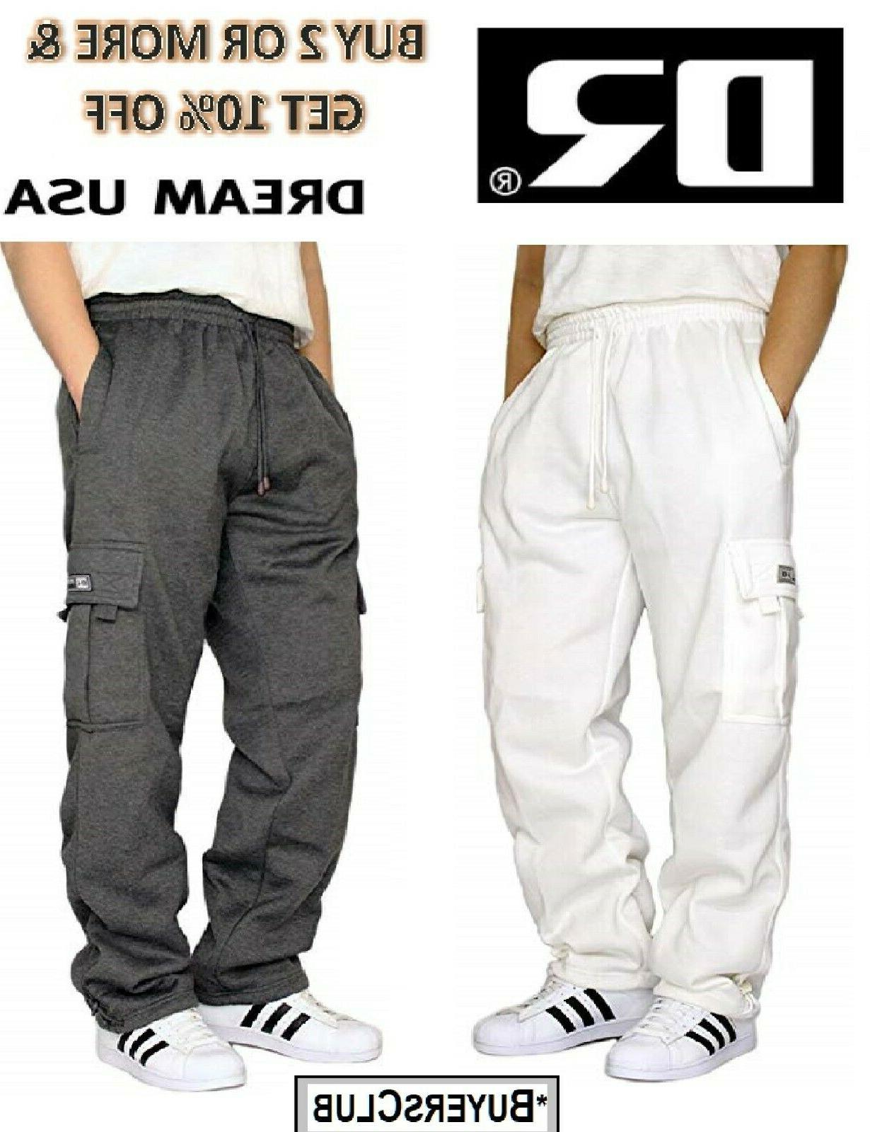 mens casual cargo sweatpants fleece cargo pant