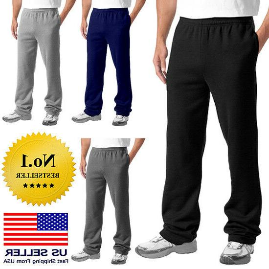 mens casual sweatpants fleece gym workout sports