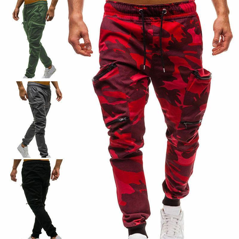 Mens Casual Trousers Joggers Cargo Combat Sport Fitness Jogging Pants