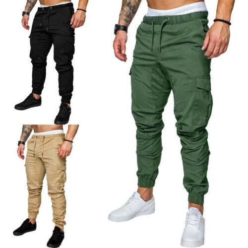 Mens Casual Cargo Combat Jogging Pants Sweatpants