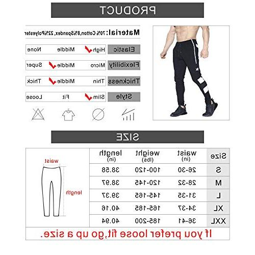 BROKIG Joggers Pants, Slim Training Zipper Pockets