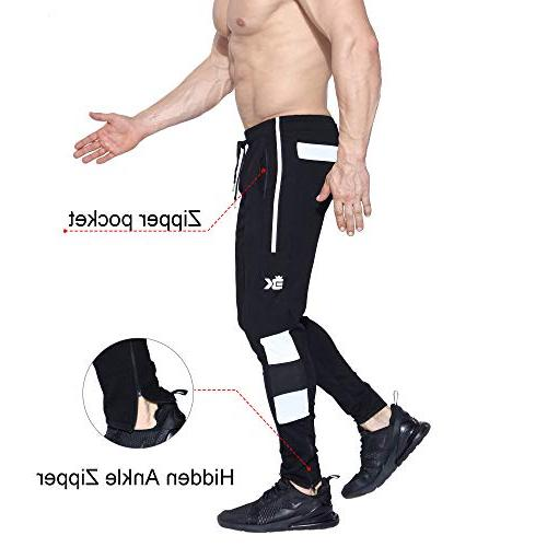BROKIG Mens Ease Joggers Pants, Training Workout Zipper