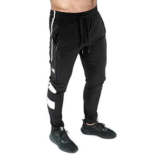 BROKIG Mens Gym Joggers Pants, Slim Training Pants Zipper