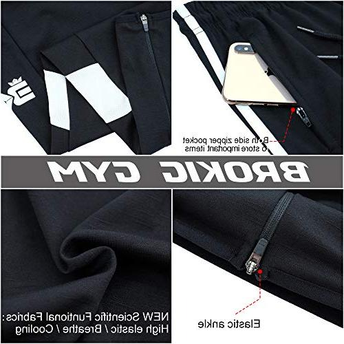 BROKIG Mens Joggers Slim Training Zipper Pockets