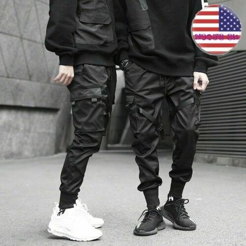 mens elastic feet joggers street pants hip