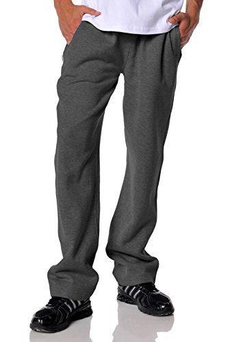 mens open bottom comfort fleece sweatpant charcoal