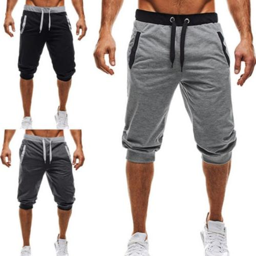 Men Urban Sports Jogger Stretch Shorts Pants Trousers Croppe