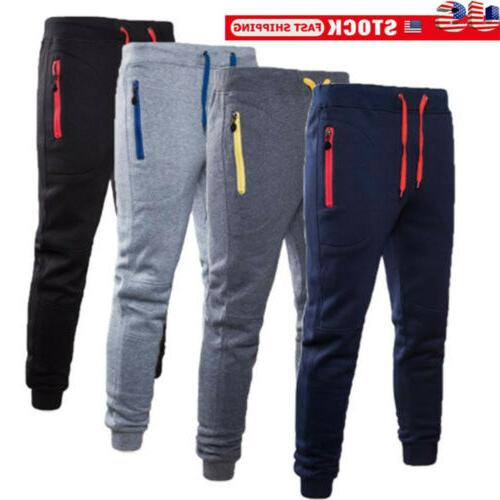 mens sport pants long trousers tracksuit gym