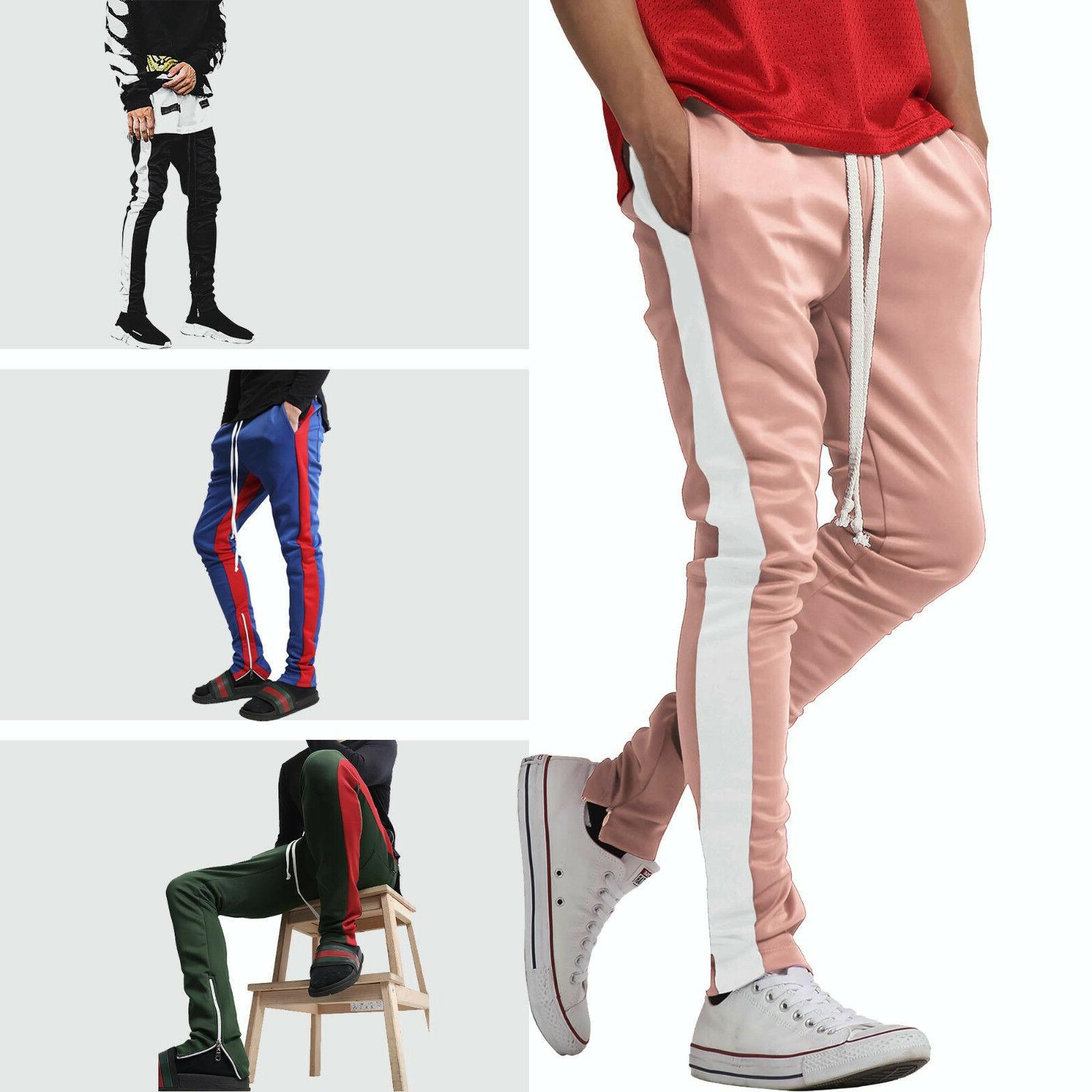 mens track pants striped joggers sweatpants slim
