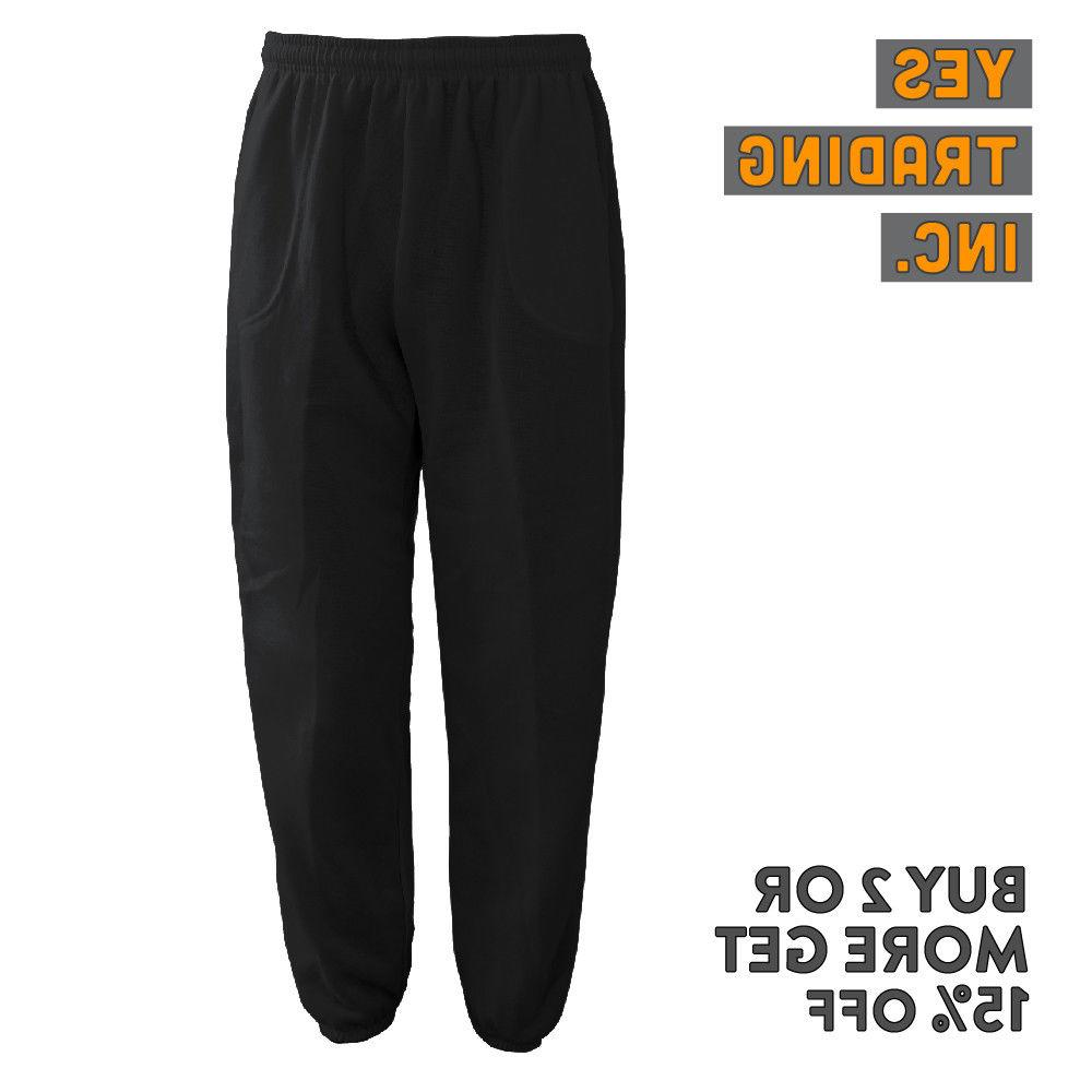 MENS WOMENS CASUAL PLAIN FLEECE PANTS YOGA