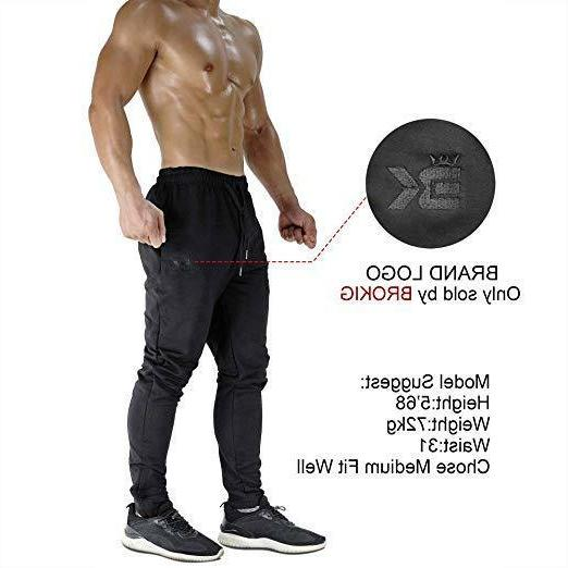 BROKIG Zip Joggers Comfortable Fit Sweatpants with Size S