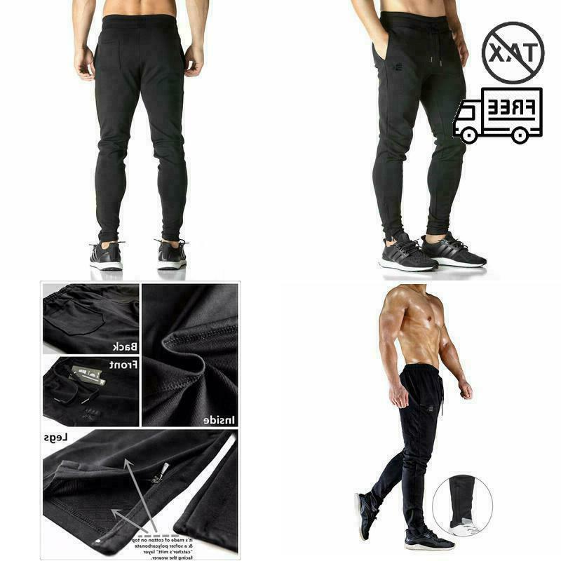 mens zip joggers pants casual gym workout