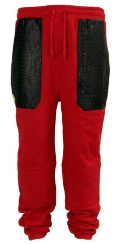 New Men's Royal Army Joggers Sweatpants With PU Trim Front