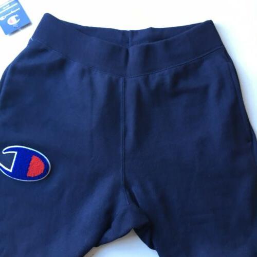 NEW Reverse Sweatpants Chenille Logo Large Blue