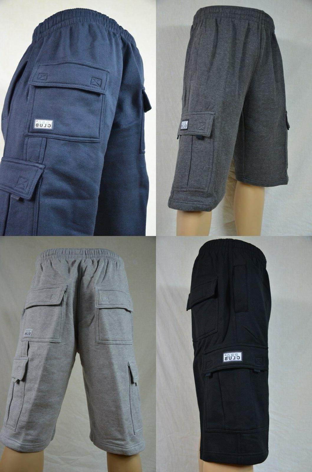 nwt heavy weight fleece cargo shorts mens