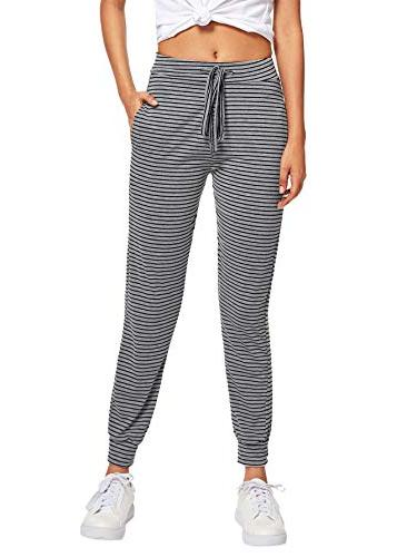 SweatyRocks Women Pants Striped Casual Tie Jogger Striped S