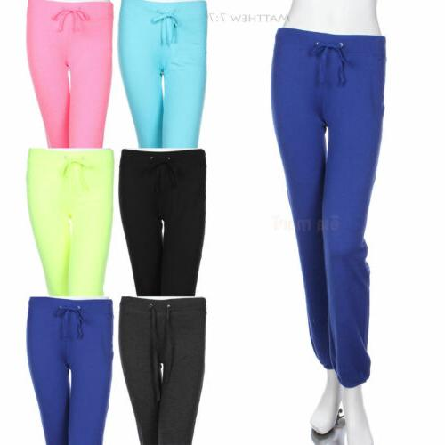Plain Cotton Solid Waist Draw String Sweat Pants Athletic We