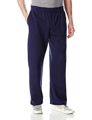 men s pocketed open bottom sweatpant navy