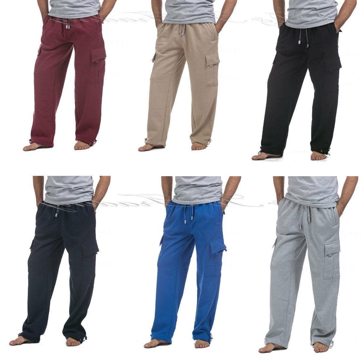pro club mens casual cargo sweatpants fleece