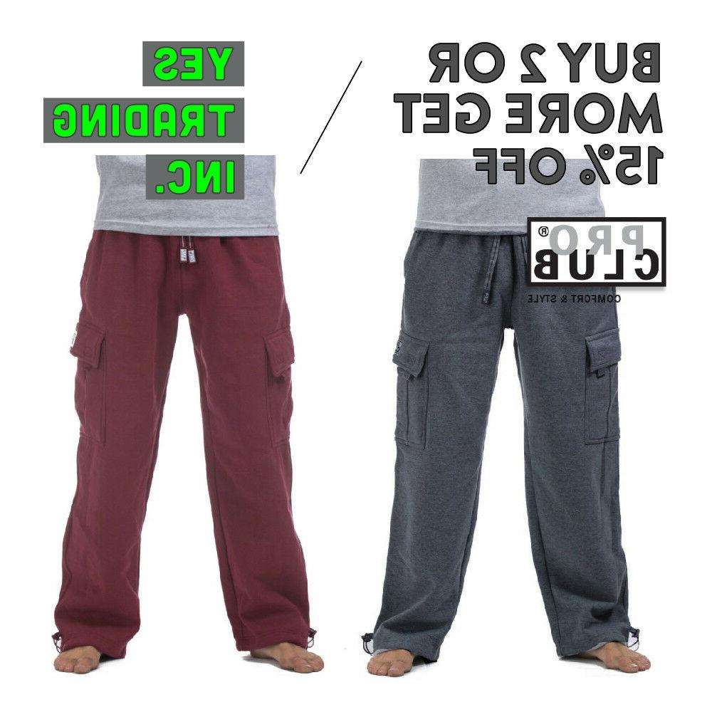 proclub mens casual cargo sweatpants fleece pants