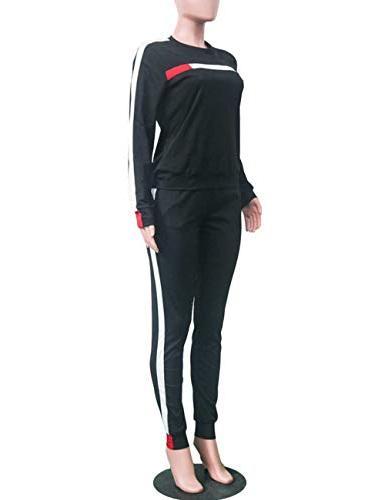 Stripe Sleeve Sweatshirt Tops for Black