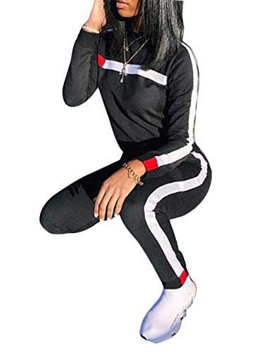Stripe Sleeve Sweatshirt Tops Long Sweatpants Two Piece for Junior Black L