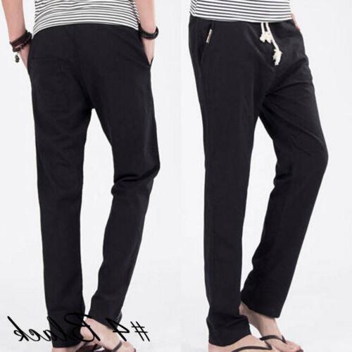 US Linen Casual Slim Solid Fitness Sweatpants