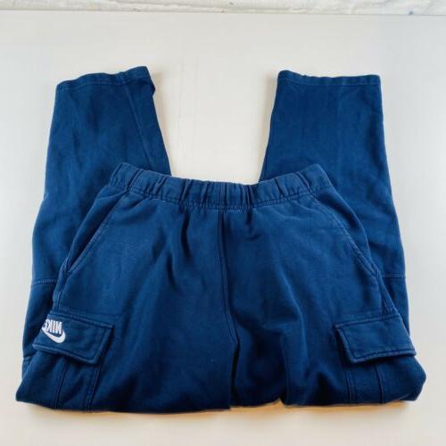 vintage cargo sweatpants navy blue spellout mens