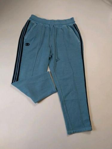 Women 100% long capri pants logo size blue