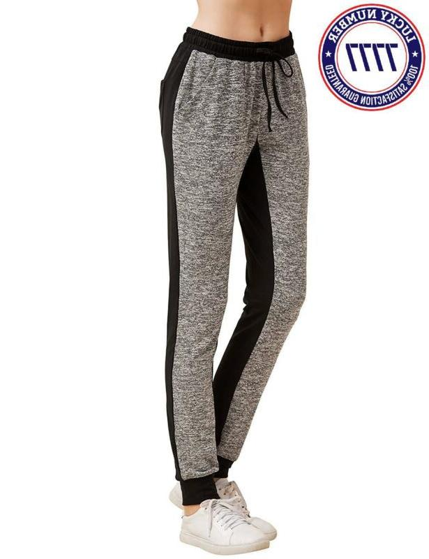 Sweatyrocks Women Pants Color Block Yoga Jogger