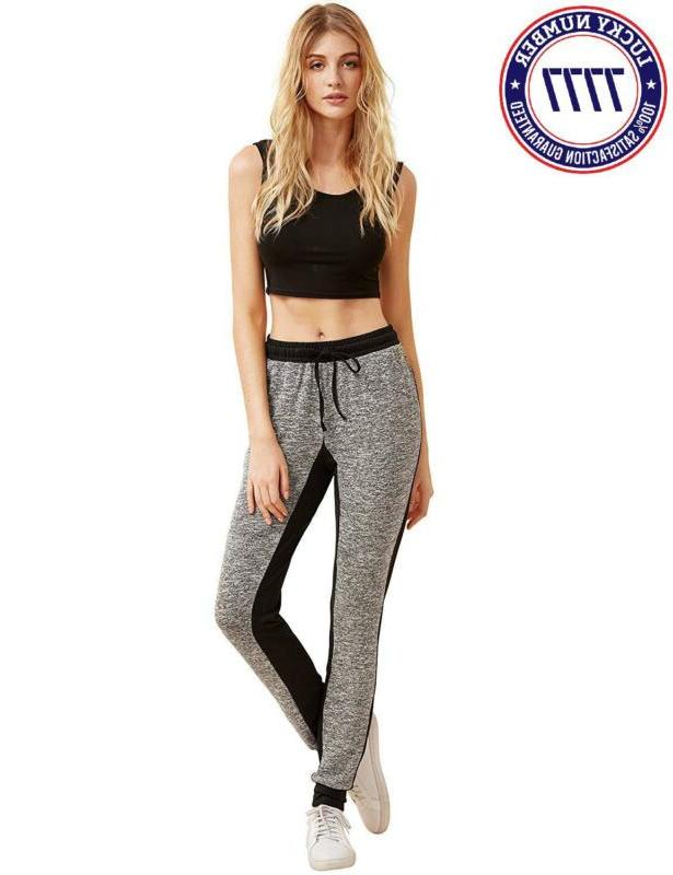 Sweatyrocks Pants Color Block Casual Waist Yoga