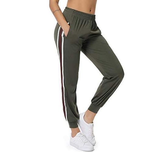 women s active drawstring waist striped side
