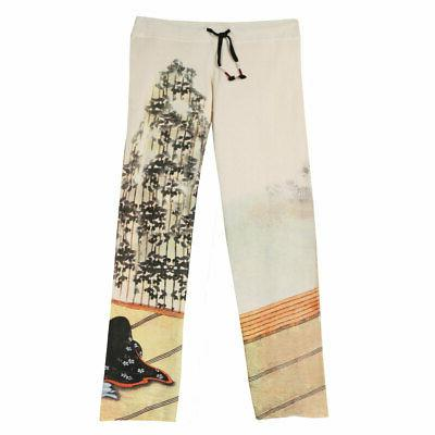 Women's Asian Print French Terry Sweatpants - Cream with Gei
