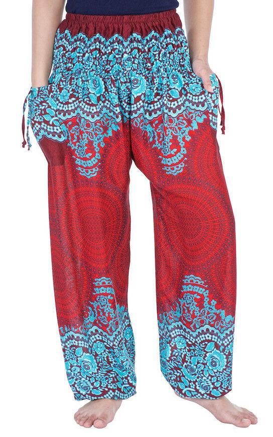 Womens Harem Waist Boho Trousers Rayon Clothing