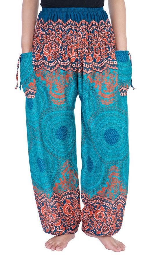 Womens Smocked Waist Boho Sweatpants Trousers Rayon