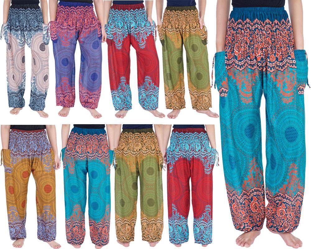 womens smocked waist boho sweatpants yoga trousers