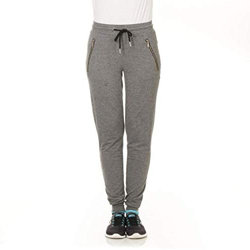 womens soft terry jogger sweatpants with zipper