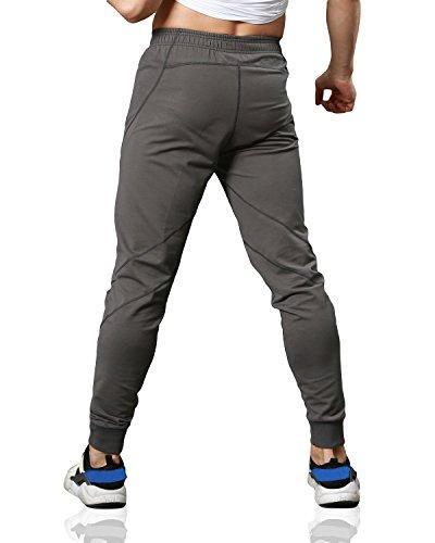 EKLENTSON Pants With Fitness Pants Slim Gray,Gray,US M Tag